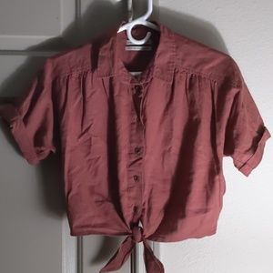 UO Cropped Button Up
